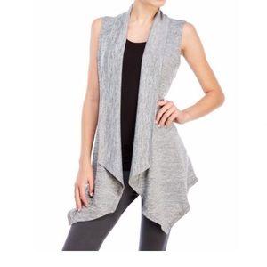90 Degree By Reflex Women's Gray Draped Knit Vest